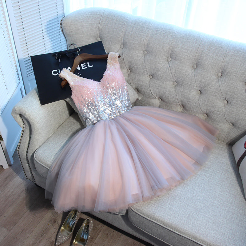 Sparkly Short Homecoming Dresses V-Neck Prom Dresses Sequins Evening Formal Gowns,MG0036