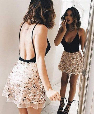 Sparkly V-Back Homecoming Dresses Backless Short Prom Dresses Sleeveless Formal Gowns