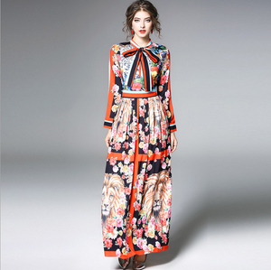 Spring Bow Collar Women Dress Long Sleeve Fashion Printing Chiffon Casual Dress,CQ00011