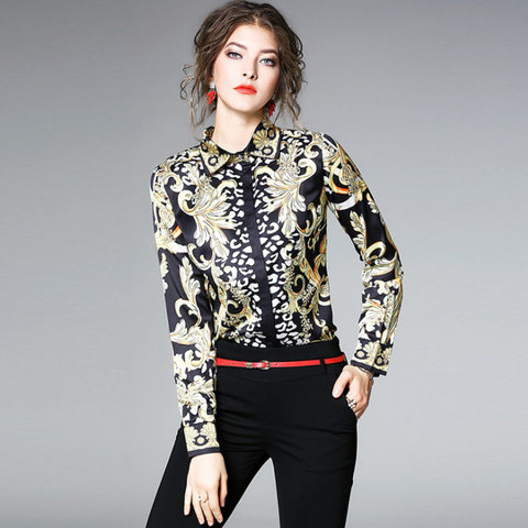 Spring New Shirts Black and Gold Hit Women Blouses Printing Long Sleeved Casual Shirts,CS00010