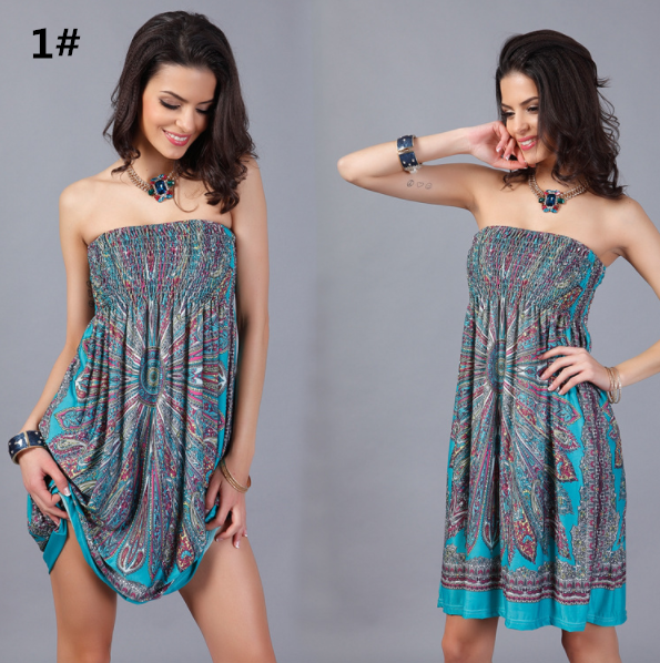 Bohemian Strapless Beach Dress Knee Length Milk Silk Dress,CQ00032