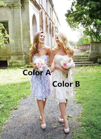 Strapless Bridesmaid Dresses Chiffon Short Bridesmaid Dresses,MG0076