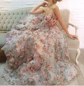 Strapless Long Prom Dresses 3D Floral Flowers Evening Dresses A-Line Formal Gowns,MG0032