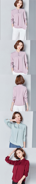 Street Fashion Women Blouses Asymmetric Casual Shirts Stand Collar Long Sleeve Women Business Blouses