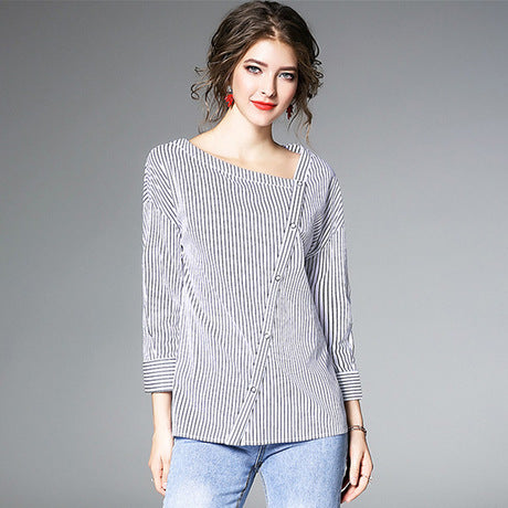 Black White Stripe Blouses Women Casual Blouses Long Sleeve Stylish Shirts,CS0003