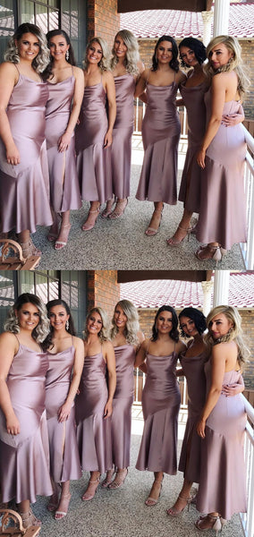 Stylish Long Bridesmaid Dresses Spaghetti Straps Bridesmaid Dresses with Slit