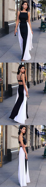 Stylish Long Prom Dresses Sleeveless Black Evening Formal Dresses