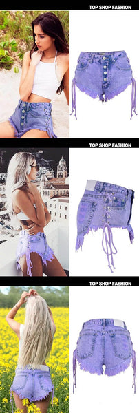 Summer - Breasted Short Pants Lady Macarons Purple Straps Bilateral Frayed Denim Shorts,NZ0005