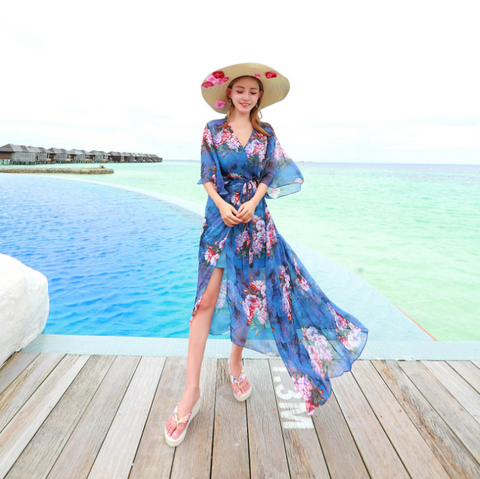 Summer Two Piece Bohemian Dress Chiffon Beach Dress Lace Cardigan Holiday Dress,CQ00022