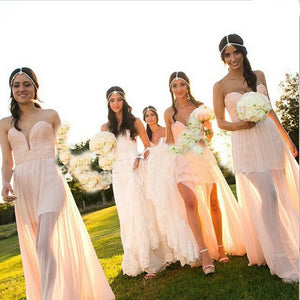 Sweetheart Long Bridesmaid Dresses Chiffon Bridesmaid Dresses Illusion Strapless Bridesmaid Dresses