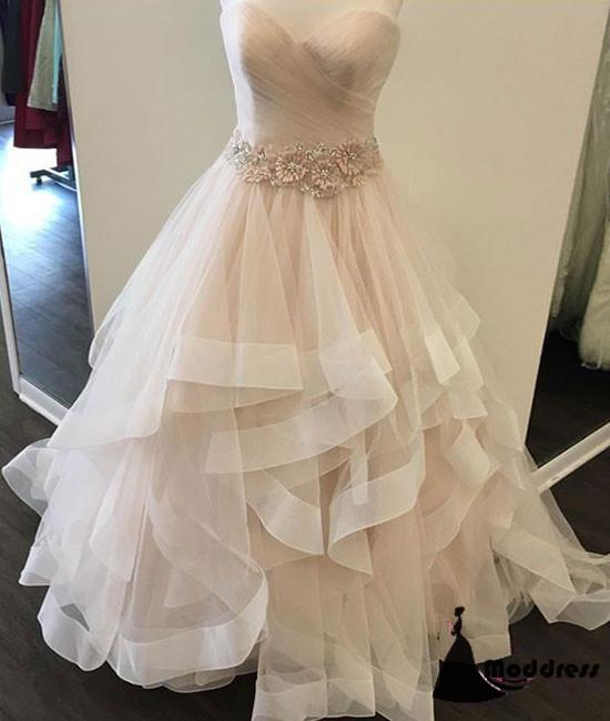 Sweetheart Long Prom Dress A-Line Sleeveless Tulle Evening Dress Wedding Dress,HS410