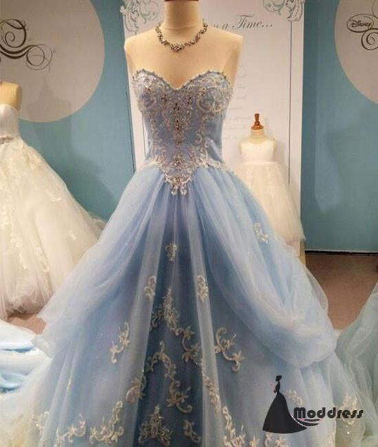 Sweetheart Long Prom Dress Blue Applique Evening Dress Strapless Formal Dress,HS472