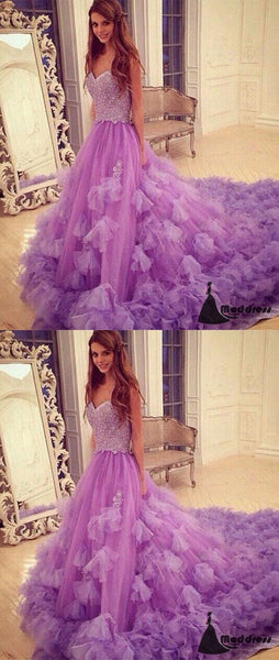 Sweetheart Long Prom Dress Strapless Tulle Evening Dress Formal Dress,HS473