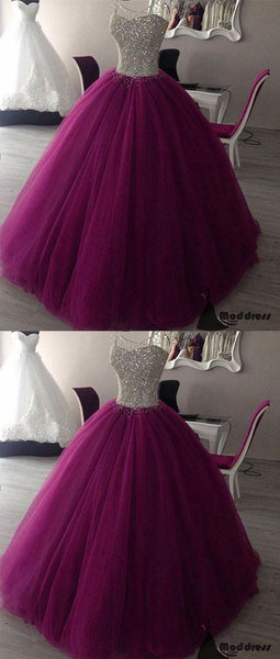 Sweetheart Long Prom Dress Tulle Purple Ball Gowns Sequins Formal Evening Dresses,HS441