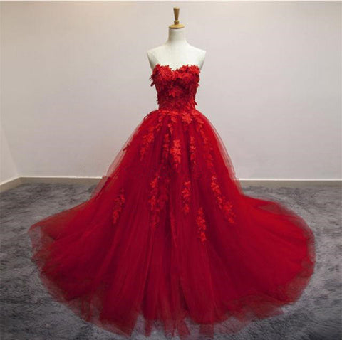 Sweetheart Long Prom Dresses 3D Floral Applique Tulle Evening Formal Dresses.,HS541