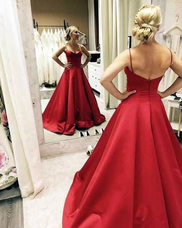 Sweetheart Long Prom Dresses Spaghetti Straps Backless A-Line Evening Formal Dresses,HS554