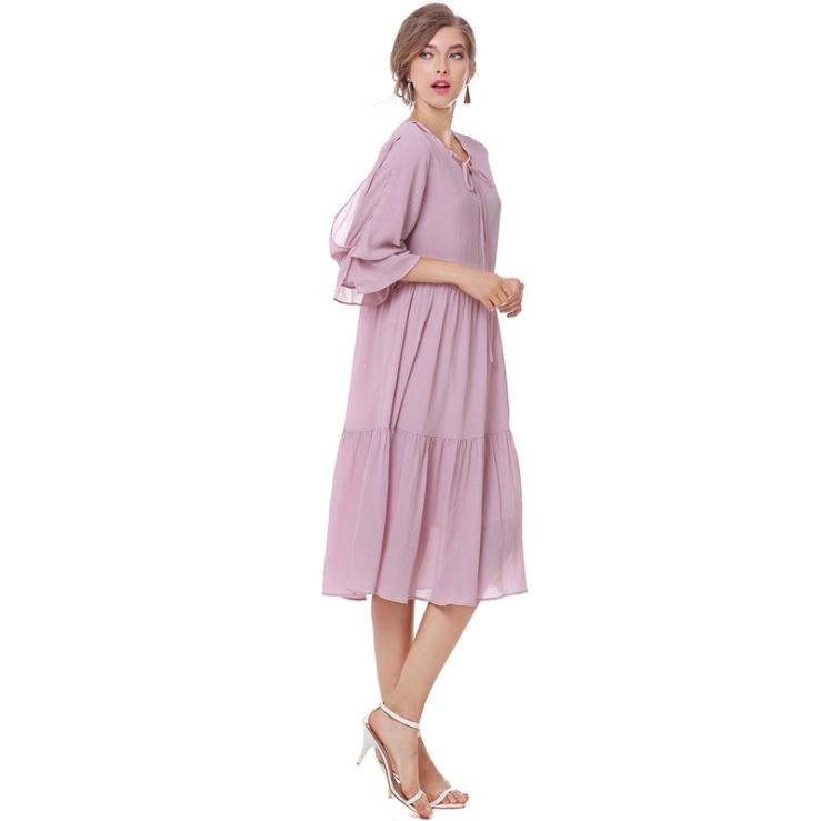 Tie V-necked Flounced Sleeve Loose Dress Maternity Dress Plus Size Summer  Dresses,CQ0009