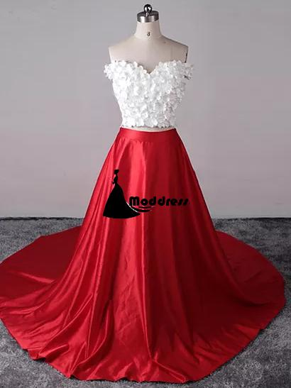 Two Piece Long Prom Dresses Red White Off-the-shoulder A-line Evening Dress,HS316