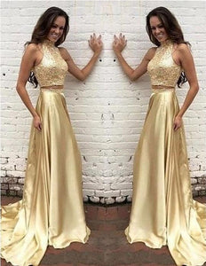 Two Pieces High neck Gold New Arrival Pretty Evening Long Party Prom Dress,HS169