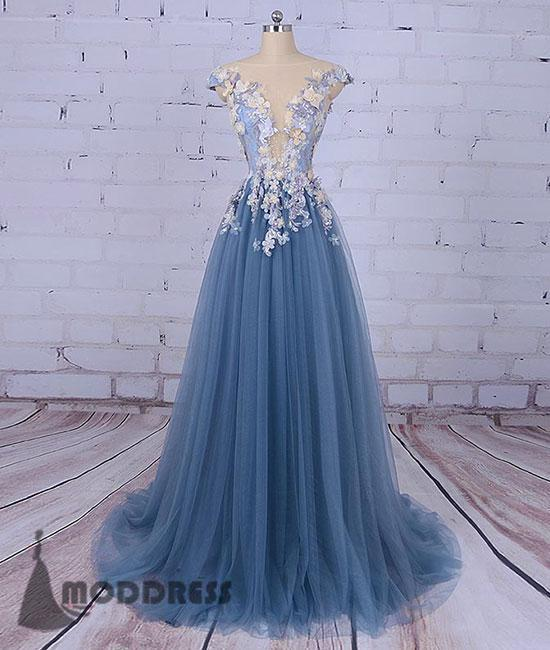 Unique Flowers Long Prom Dress Cap Sleeve A-Line Tulle Evening Dress,HS381