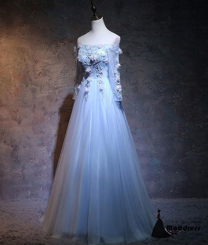 2ae0d5850b ... Unique Flowers Long Prom Dress Blue Tulle Off the Shoulder Long Sleeve  A-Line Evening ...