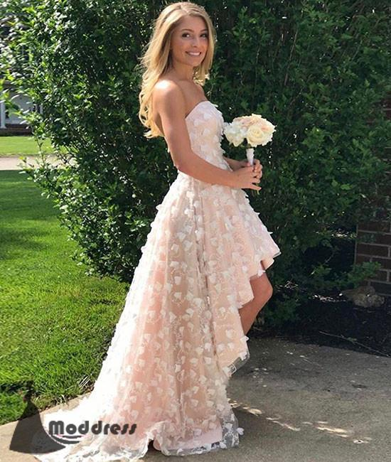 Unique High Low Prom Dress Tulle Flowers Strapless Sweetheart Evening Dress,HS407