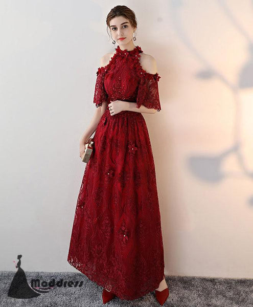 Unique Lace Long Prom Dress High Neck Evening Dress A-Line Red Formal Dress