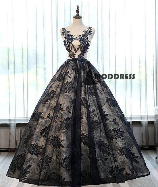 Unique Lace Long Prom Dress Scoop Ball Gowns Evening Dress,HS391