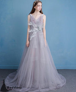 Unique Long Prom Dress Grey Evening Dresses Backless Tulle Formal Dress