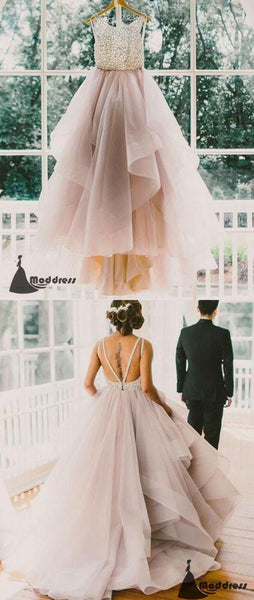 Unique Long Prom Dress Scoop Backless Tulle Lace Wedding Dress Formal Dress,HS468