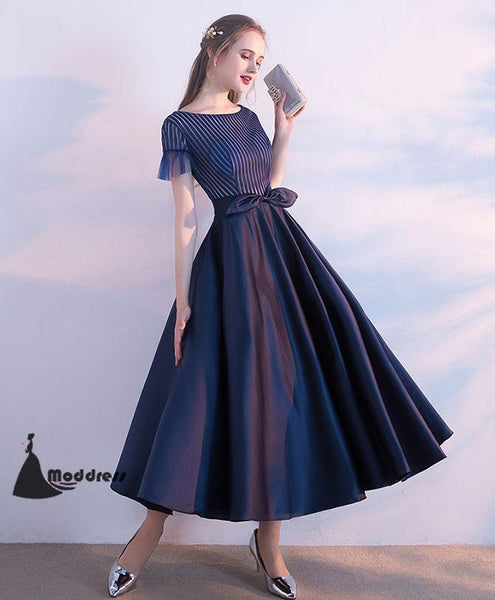 Unique Tee Length Prom Dress A-Line Homecoming Dress Short Sleeve Formal Dress,HS490
