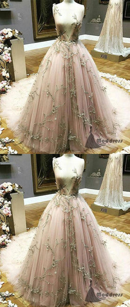 Unique V-Neck Applique Wedding Dress A-Line Long Prom Dress Evening Dresses,HS374