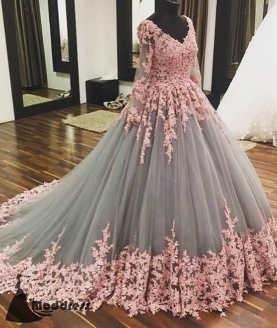 Unique V-Neck Wedding Dress Tulle Applique Long Prom Dress Long Sleeve Evening Dress,HS394