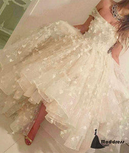 Unique White Lace Prom Dress Cute Off the Shoulder Applique Evening Dress,HS426