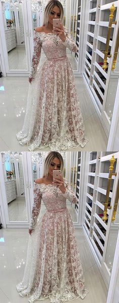 Unique lace long prom dress, long sleeve a-line evening dress cocktail dress