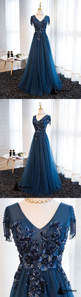 V-Neck Long Prom Dress Beaded A-Line Evening Dress Tulle Formal Dress,HS484