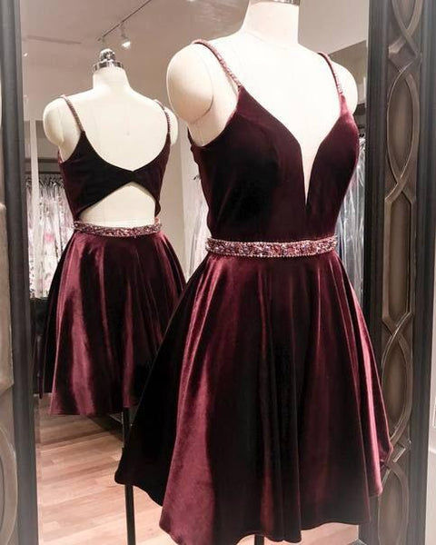 Velvet Short Homecoming Dresses Spaghetti Straps Short Homecoming Dresses V-Neck Beaded Short Homecoming Dresses