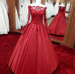 Long sleeves red A-line long off shoulder lace top prom dress, PD5672