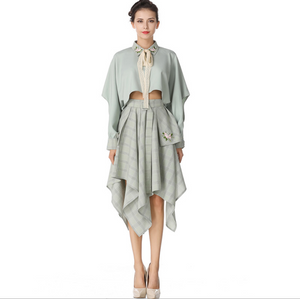 Vintage Spring Women Embroidery Lapel Hollow Long Sleeved Shirts with Asymmetric Skirts,CQ00018