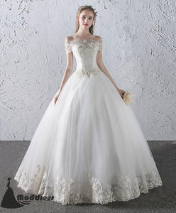 White Lace Wedding Dress Off the Shoulder Long Prom Dress Ball Bridal Gowns,HS494