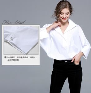 White Lady Shirts Large Size Lapel Bat Sleeves Casual Blouses Long Sleeves Loose Women Blouses,CS00011