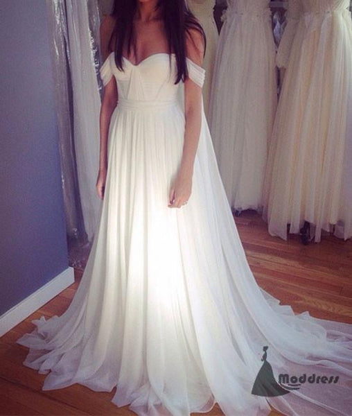 White Long Prom Dress Off the Shoulder Chiffon A-Line Evening Dress,HS393