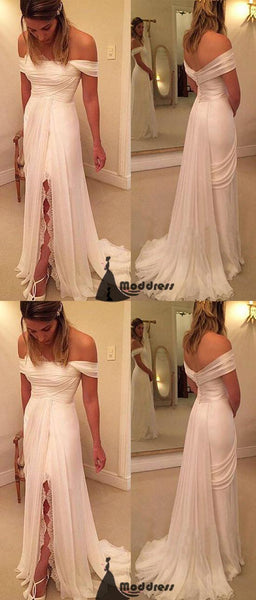 White Long Prom Dress Off the Shoulder High Slit Evening Dress,HS432