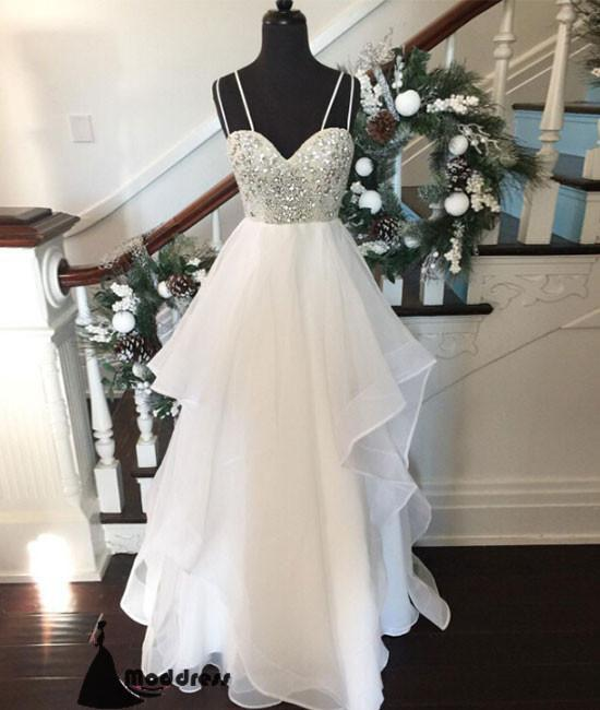White Long Prom Dress Sweetheart Rhinestone Evening Dress Formal Dress,HS479