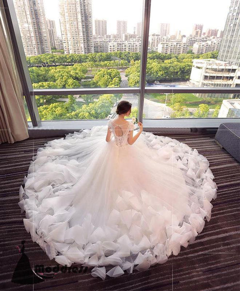 White Wedding Dress Scoop Applique Ball Bridal Gowns Tulle Bridal Dress,HS495