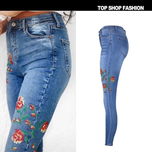 Women's Waist Elastic Jeans Pants Embroidery Cat Rose Washing Denim Pants Feet Nine Trousers,NZ0004