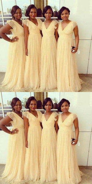 Yellow Long Bridesmaid Dresses Tulle Bridesmaid Dresses V-Neck A-Line Bridesmaid Dresses