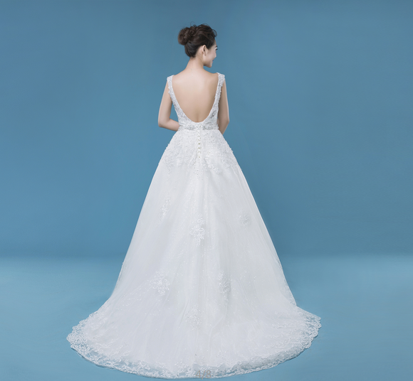 A-line long floor-length tulle wedding dress, open back wedding dress, WD73