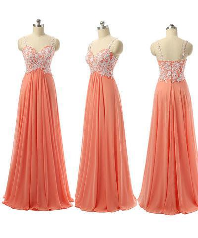spaghetti strap orange long cheap Bridesmaid Dress with lace appliques, BD56974