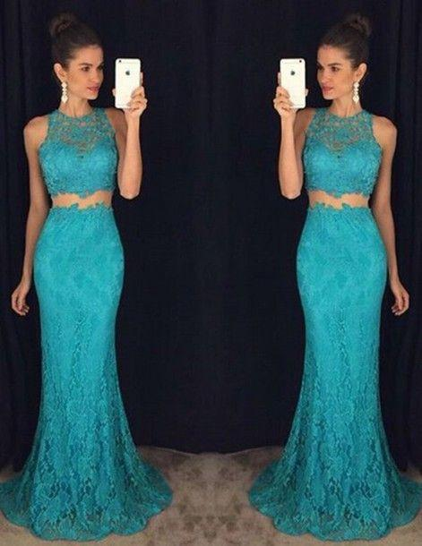 turquoise prom dress, long prom dress, two pieces prom dress, lace evening dress, mermaid prom dress, BD405